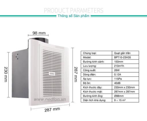 Thông số kỹ thuật quạt hút âm trần Nedfon BPT15-33H55