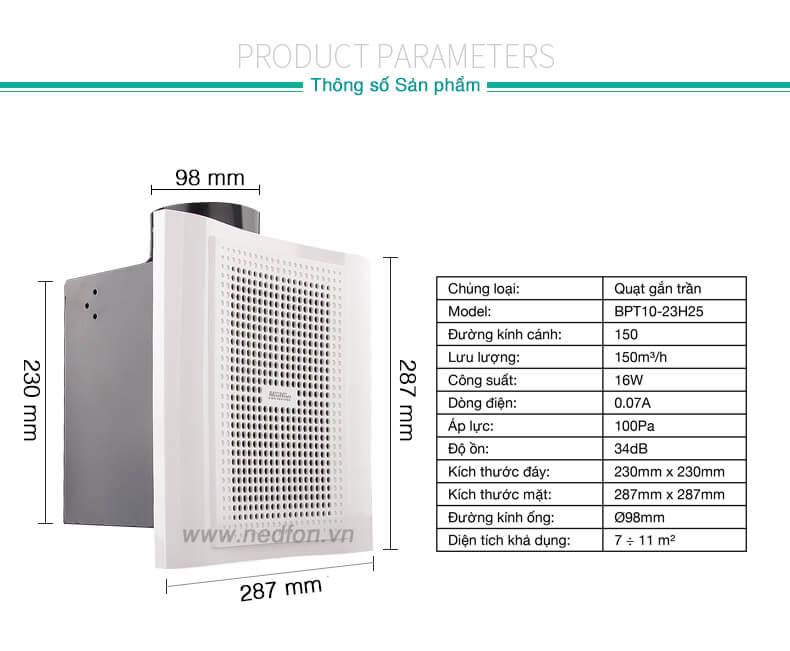 Thông số kỹ thuật quạt thông gió âm trần Nedfon BPT10-23H25