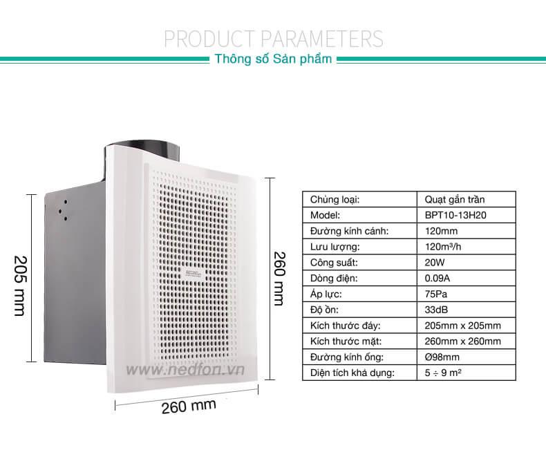 Thông số kỹ thuật quạt thông gió gắn trần Nedfon BPT10-13H20