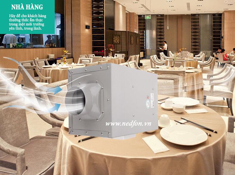 Quạt thông gió âm trần nối ống cho nhà hàng