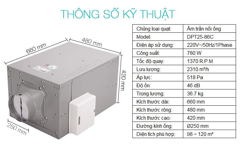 Thông số kỹ thuật uạt âm trần nối ống gió Nedfon DPT25-86C